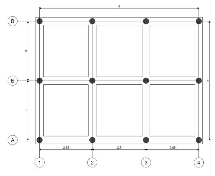 Свайно-винтовой фундамент 6x8